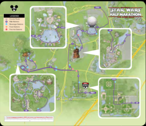 Star Wars Dark Side Half Marathon 13.1 Course Map